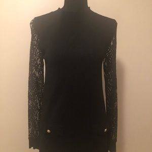 Women's SZ Small Black Tunic with Detailed Sleeves